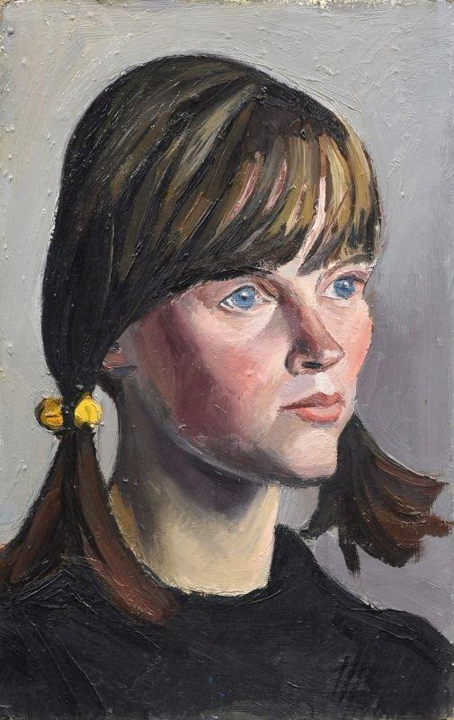 "Curt Querner ""Portrait study Inge Auxel with braids""."