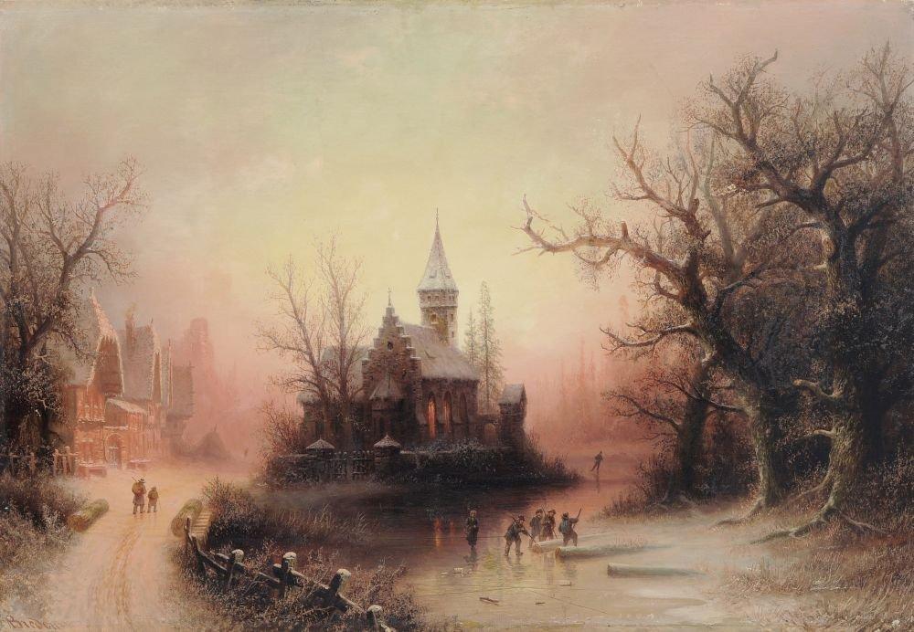 Albert Bredow, Abendliche Winterlandschaft. 1887.