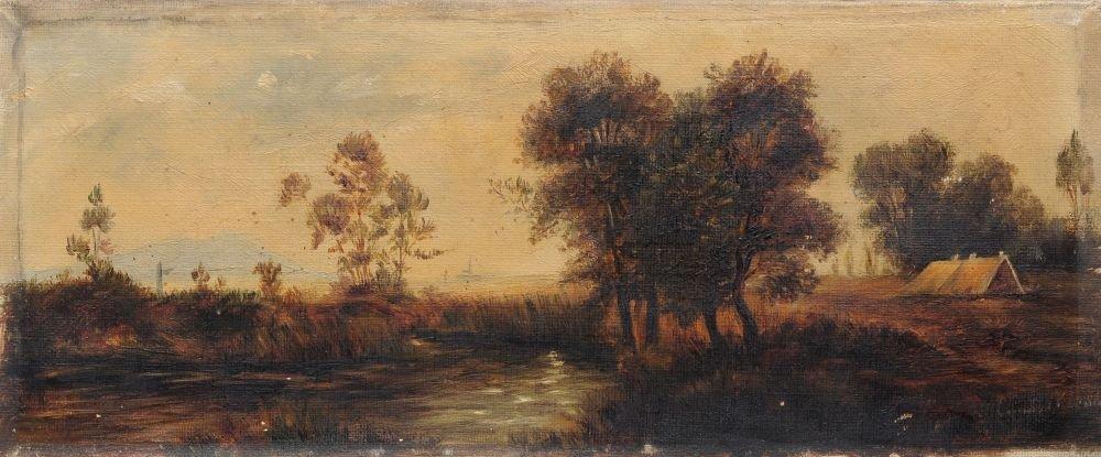 Unbekannter Kuenstler, Landschaft mit Huette. Wohl Late