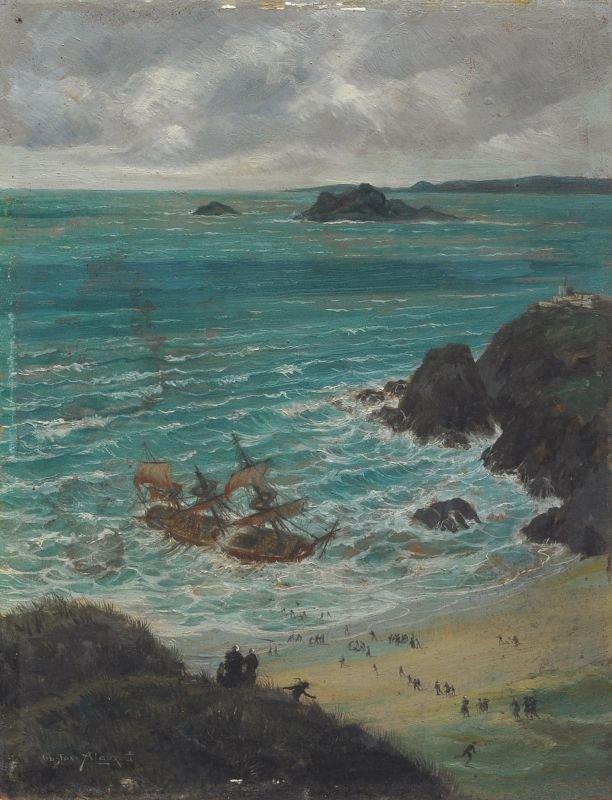 """Gustave Louis Michel Alaux """"Le Naufrage"""" (Der"""