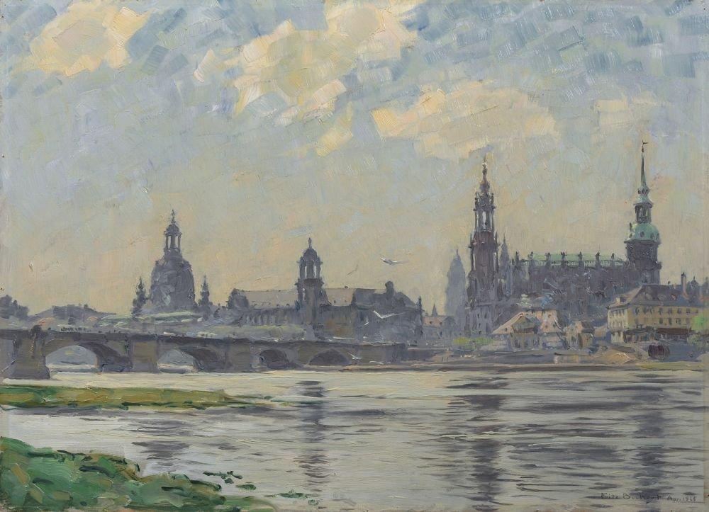 """Fritz Beckert """"Blick auf [die] Altstadt [von Dresden]""""."""