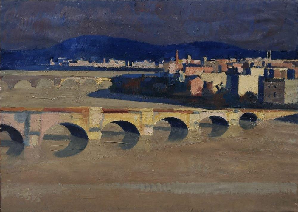"""Gerhard Bondzin """"Dresden bei Hochwasser"""". 1975."""