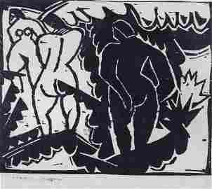 """Karl Schmidt-Rottluff """"Nude in the open air"""". 1913."""