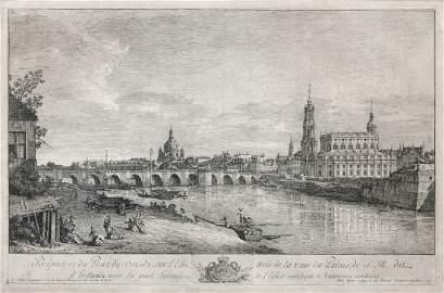 """Bernardo Bellotto, gen. Canaletto """"Perspective du Pont"""
