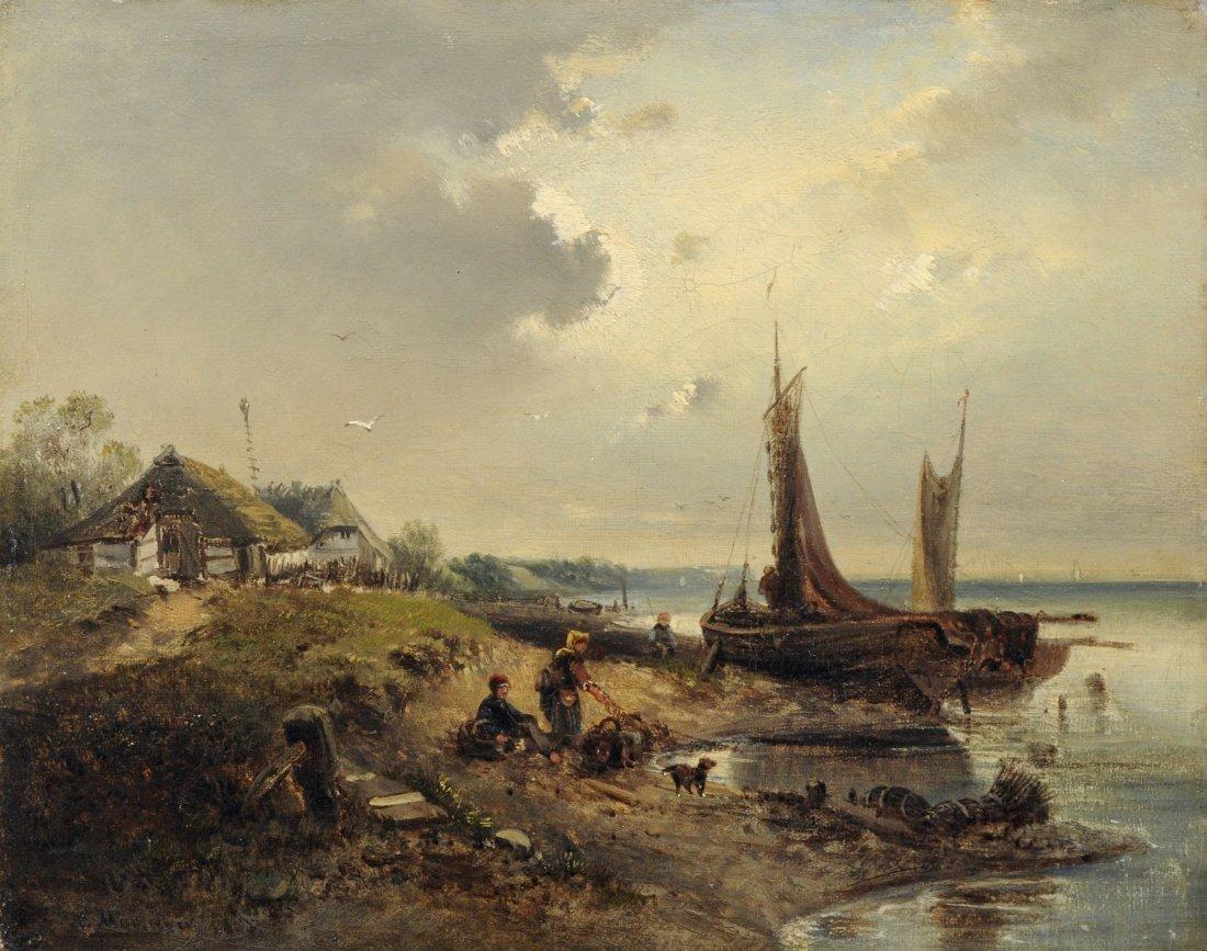 Alfred Hippolyte Marinier, Fischer am Ufer. Wohl 1856.