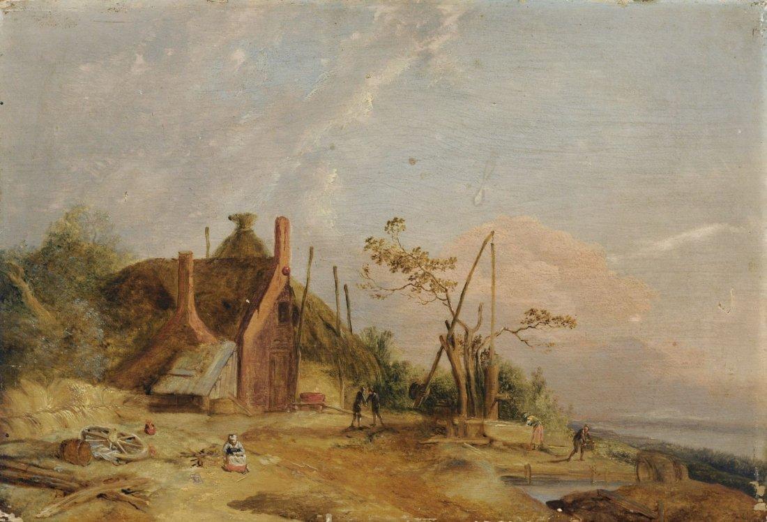 Unbekannter Kuenstler, Landschaft mit Bauernkate. 19th