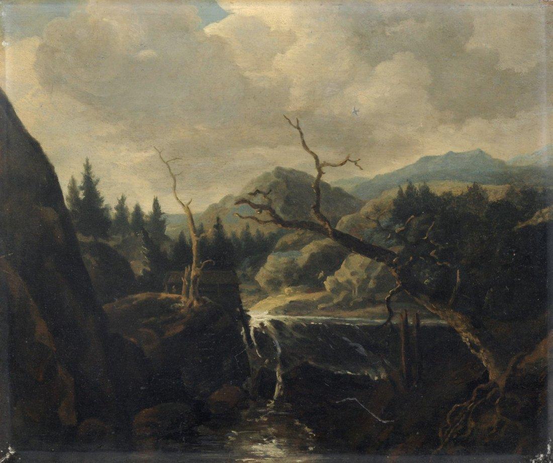 Unbekannter Kuenstler, Landschaft mit Wasserfall und
