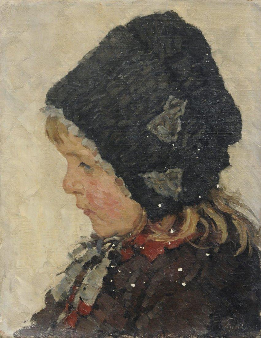 Bruno Breil, Portrait eines Maedchens mit Muetze. Early