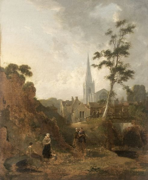 "3: Unknown artist ""View of a city with church"". 1st"