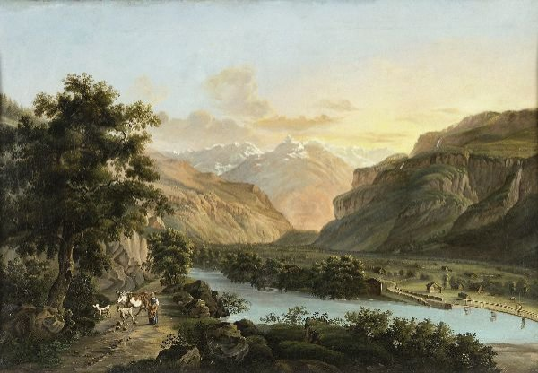 "12: Unknown artist ""Riverscape with cattle and sheper"