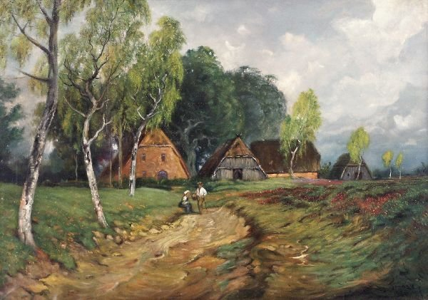 "20: Josef Franze ""Landscape with houses with thatches"