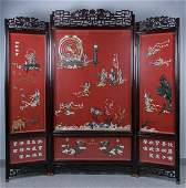 A Rare Inlaid Cinnabar Lacquer Screen