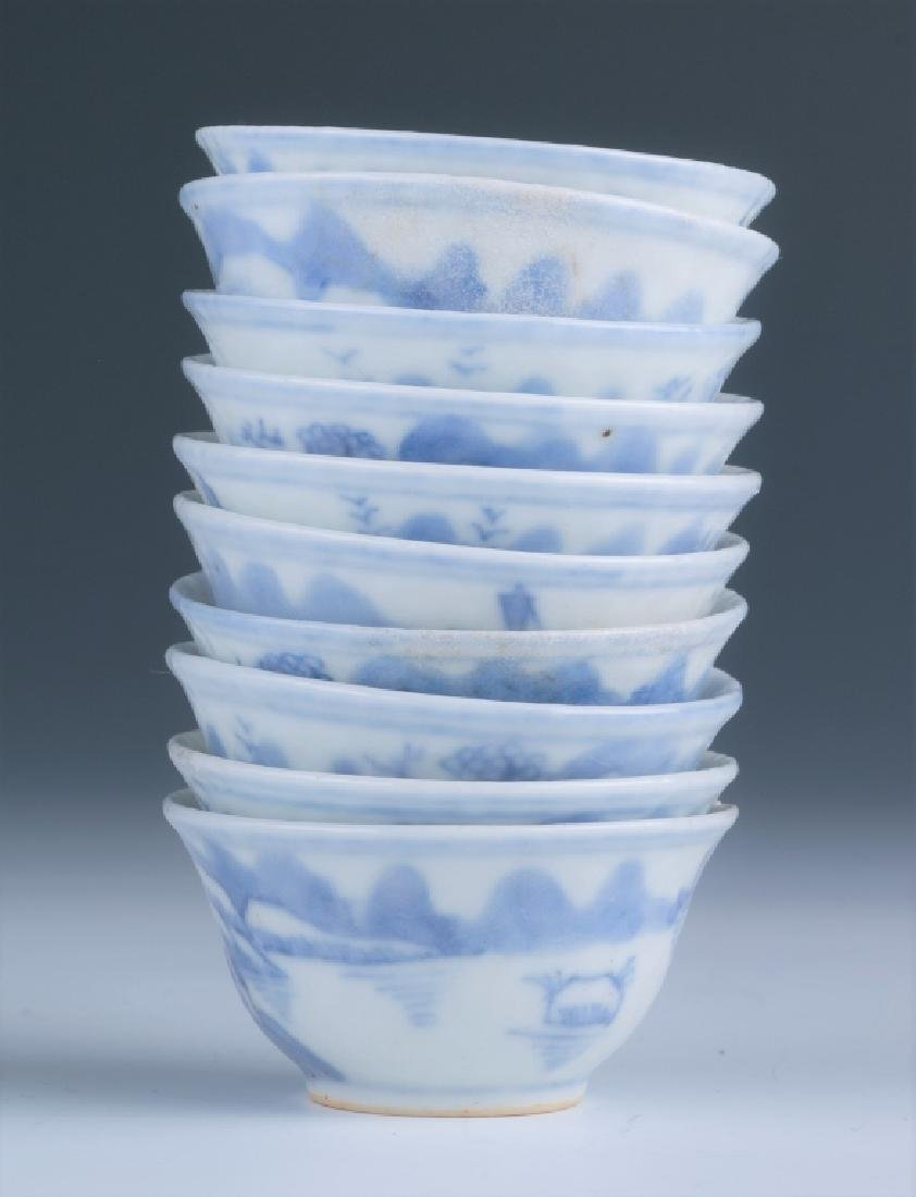 A Set of Small Blue and White Cups - 2