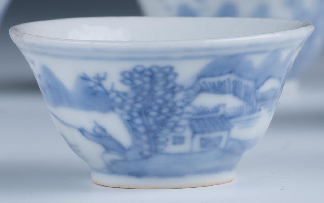 A Set of Small Blue and White Cups - 3