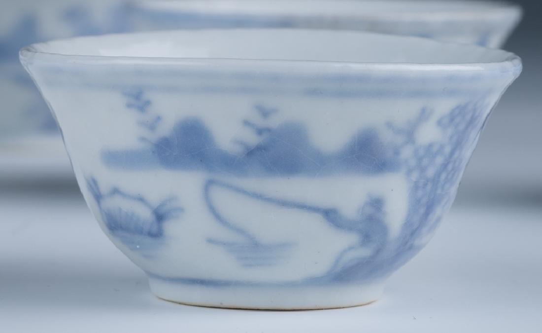 A Set of Small Blue and White Cups - 4