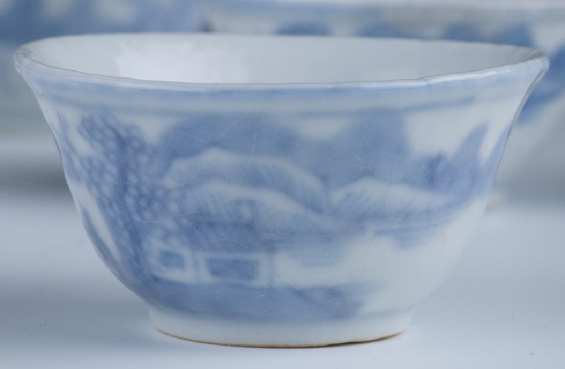 A Set of Small Blue and White Cups - 5