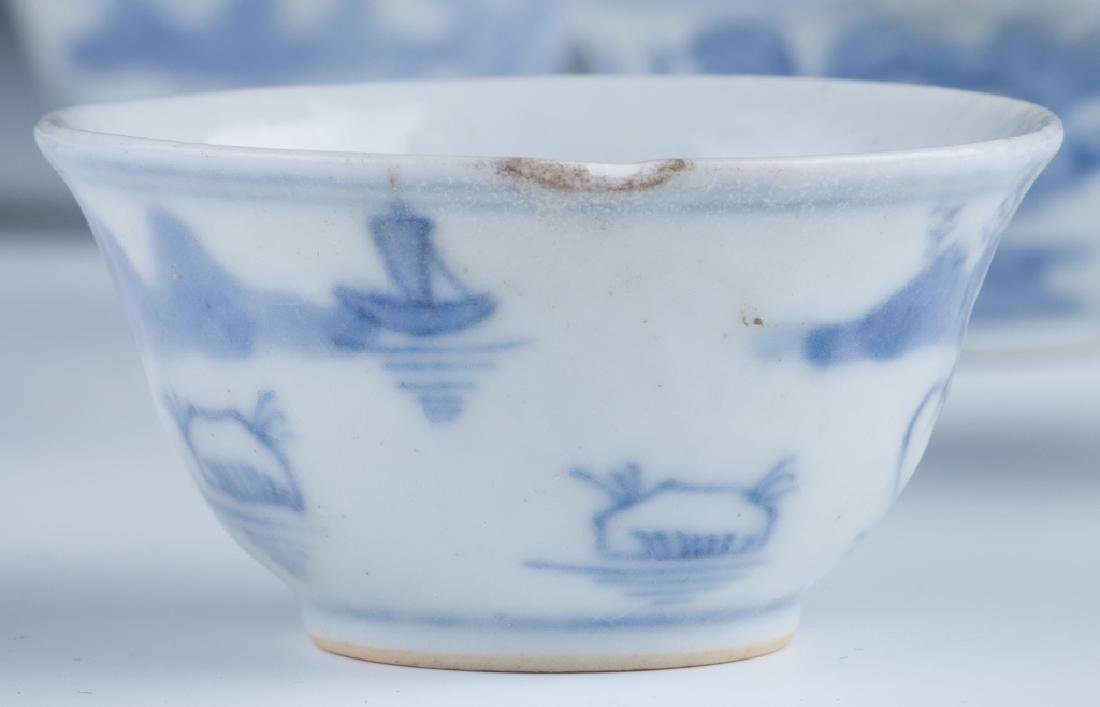 A Set of Small Blue and White Cups - 7