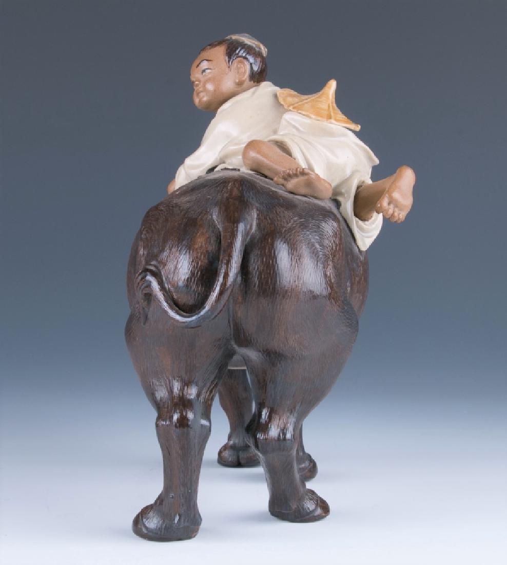 A Shiwan Figure Cowboy Riding on Bufflao - 2