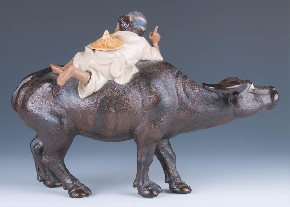 A Shiwan Figure Cowboy Riding on Bufflao - 3