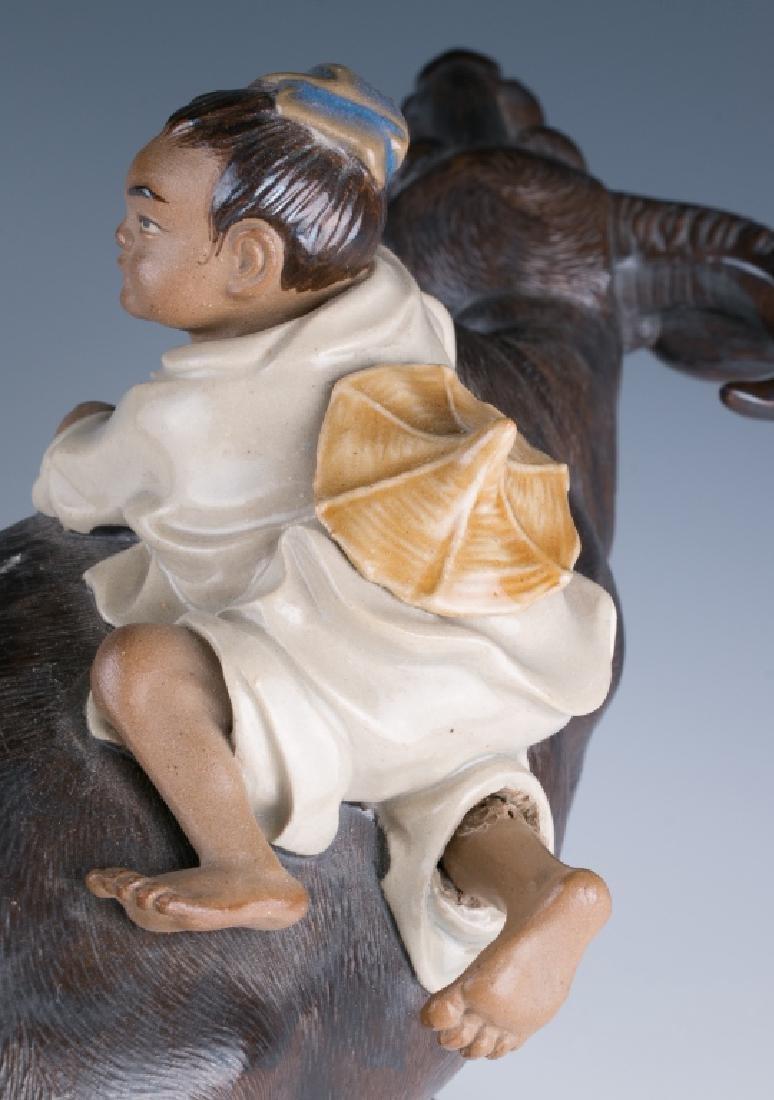 A Shiwan Figure Cowboy Riding on Bufflao - 9