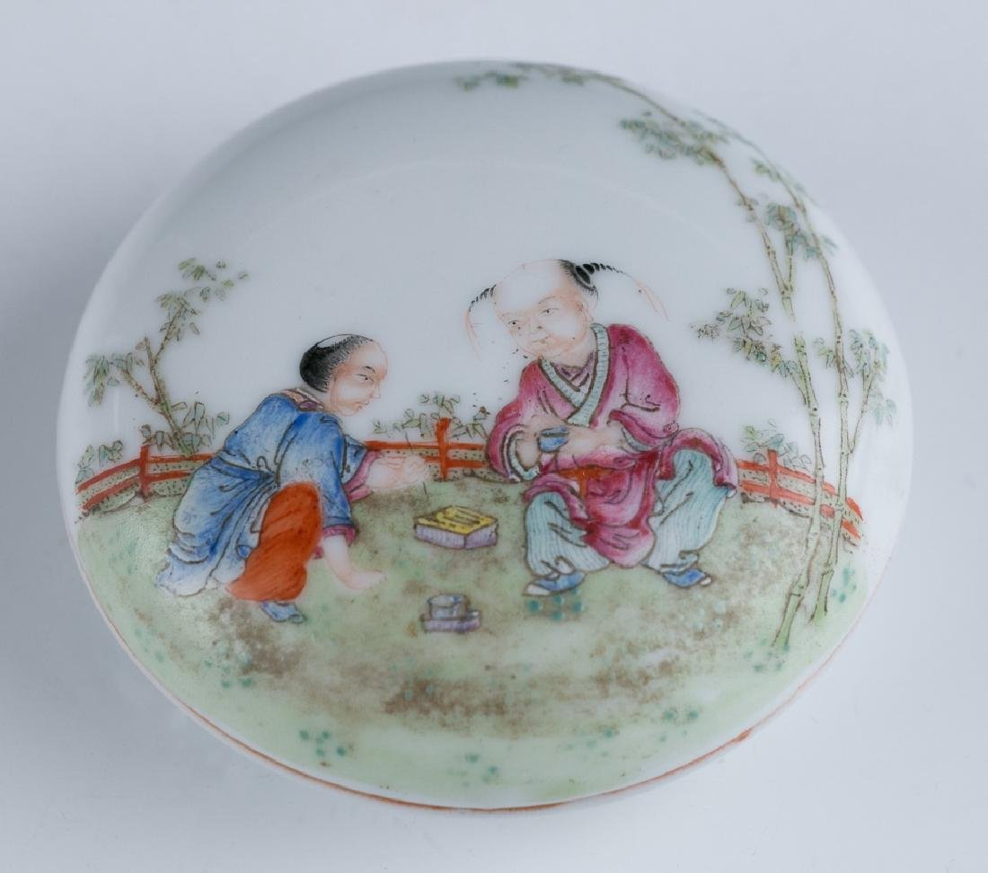 A Familie Rose Figure Ink Box with Cover, Qianlong