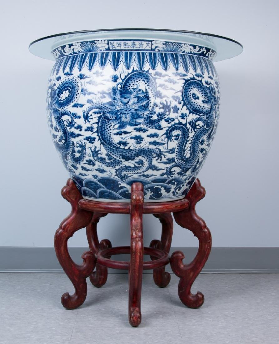 A Large Blue and White Jardiniere, 20th Century