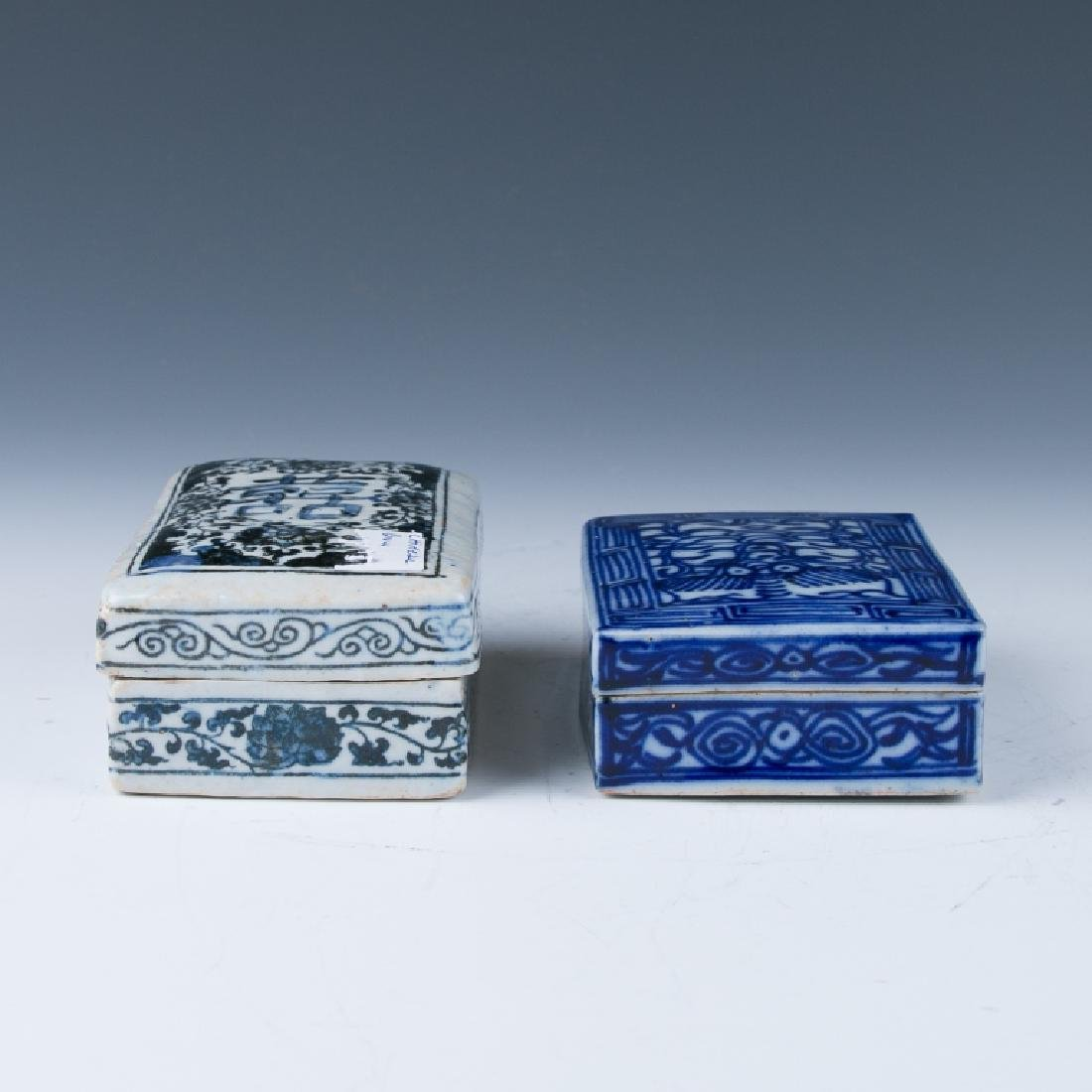Two Blue and White Ink Boxes with Covers