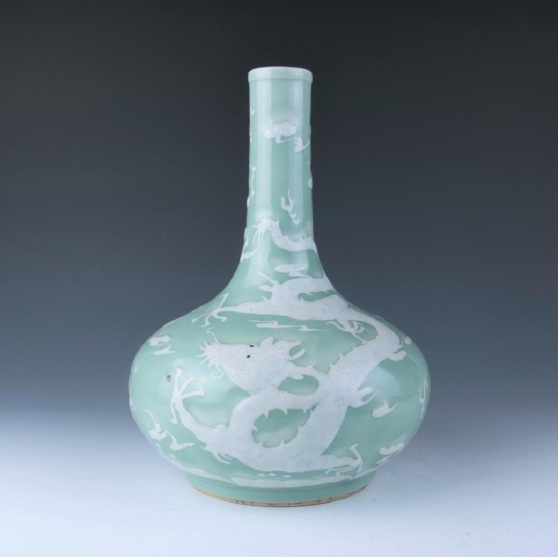 A Slip-Decorated Celadon Glazed Vase, 19th Century