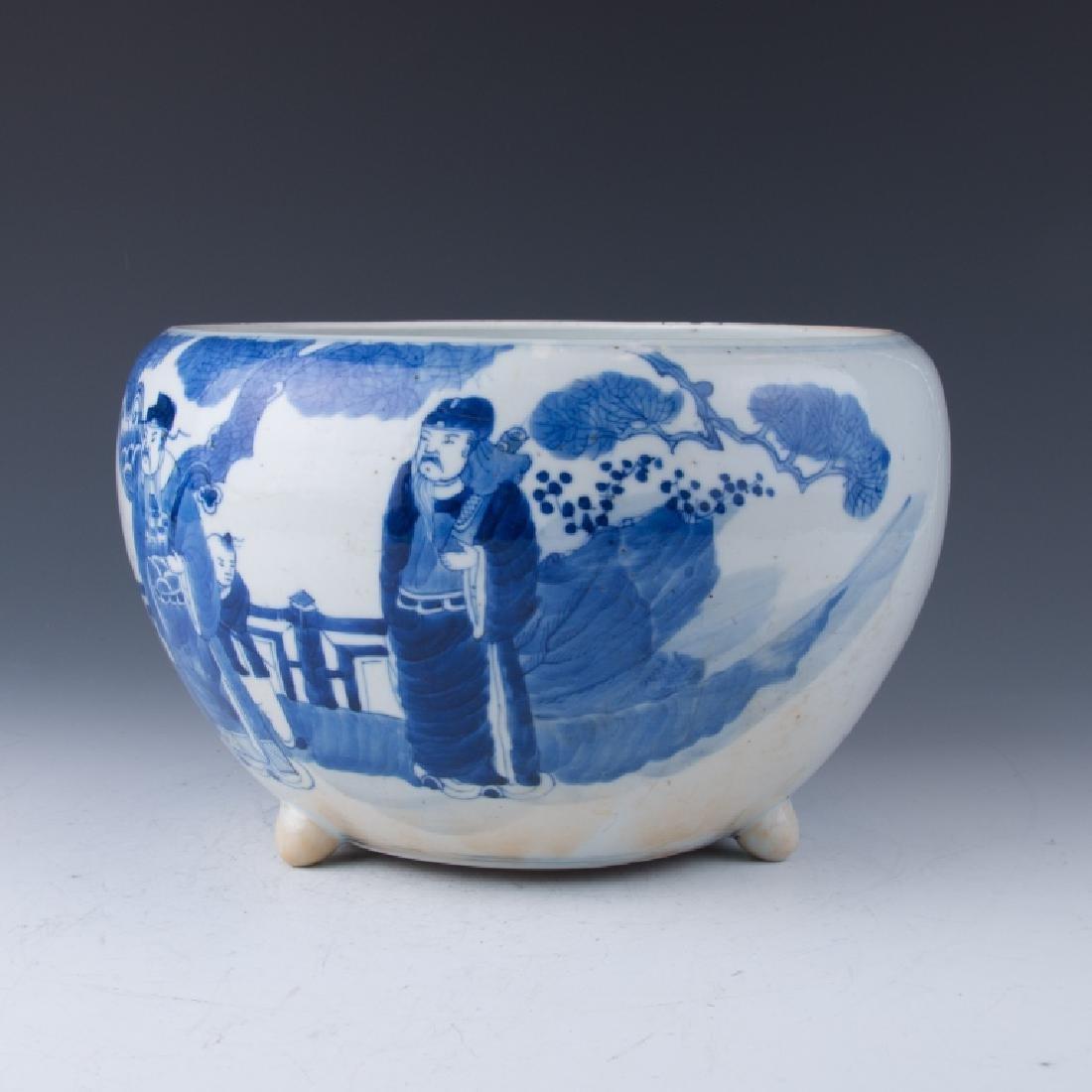 A Blue and White Tripod Censer