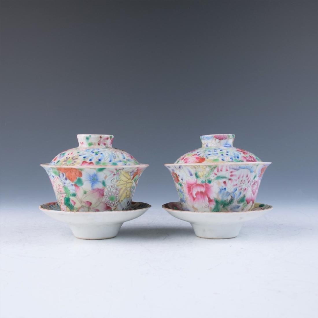 A Pair of Millefleur Tea Cups, Qianlong Mark