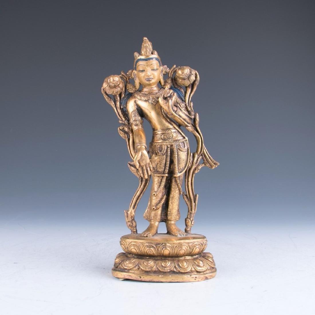 A Gilt Bronze Nepalese Avalokitesvara Buddha, 19th