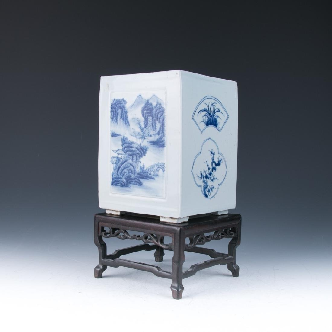 A Blue and White Square Shape Brushpot, Qing