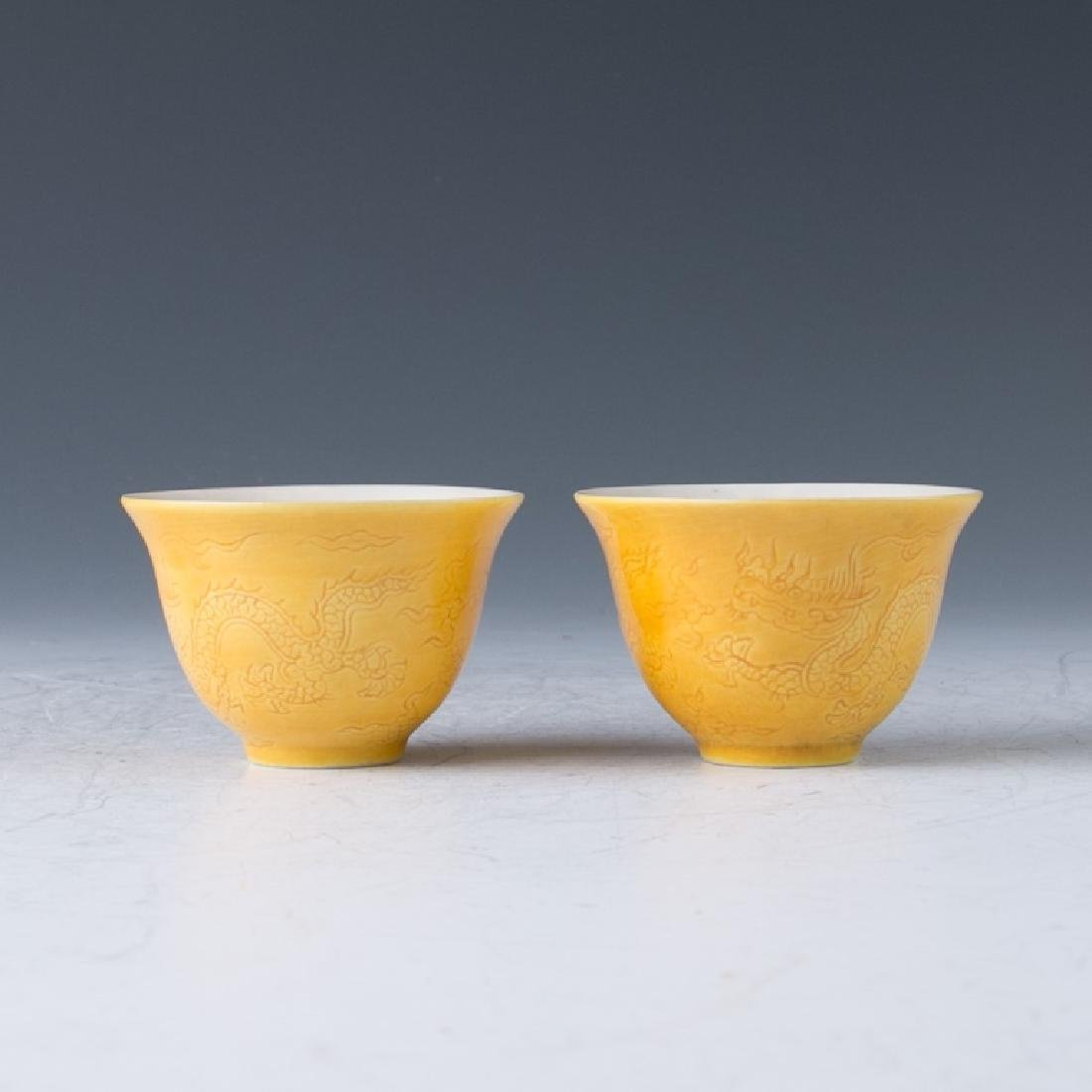 A Pair of Yellow Ming Style Cups