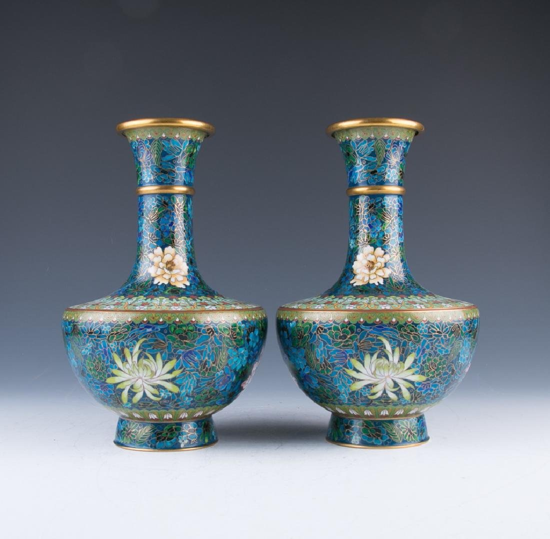 A Pair of Cloisonne Vases