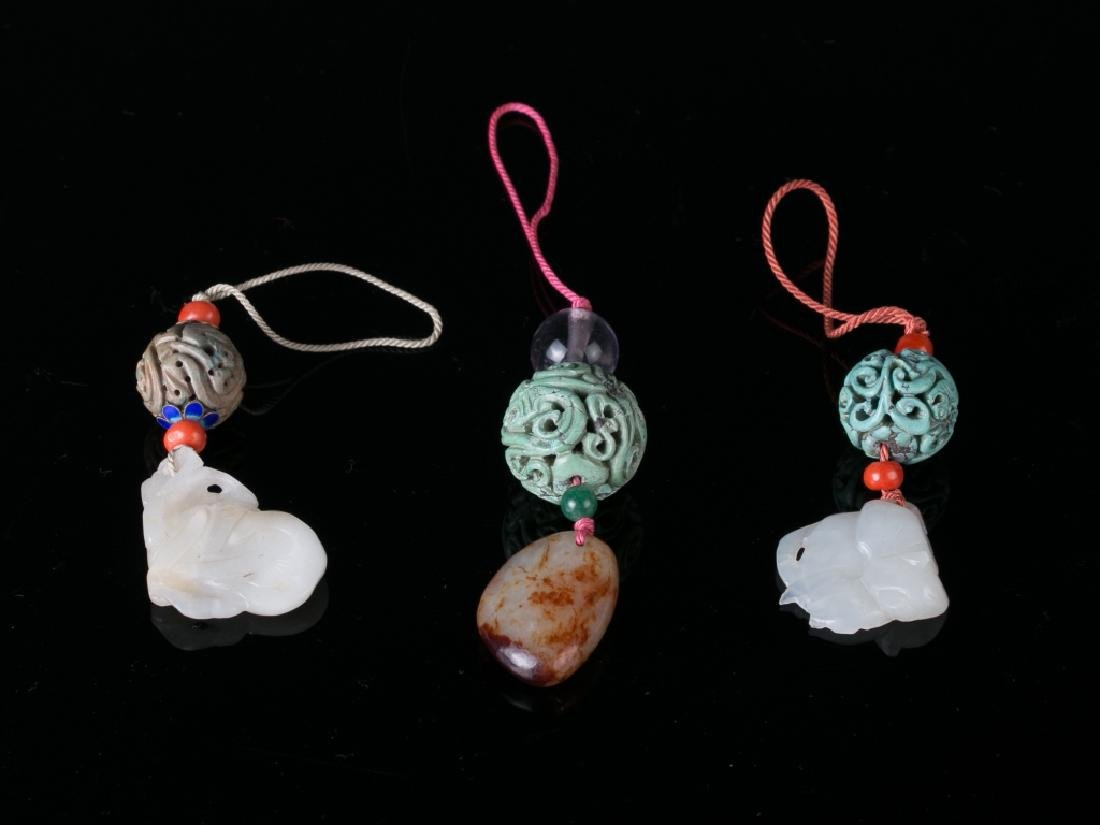 Three Turquoise and Jade Pendents, Late Qing Dynas