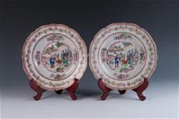 Pair of Export Mandarin Rose Plates 18th/19th C