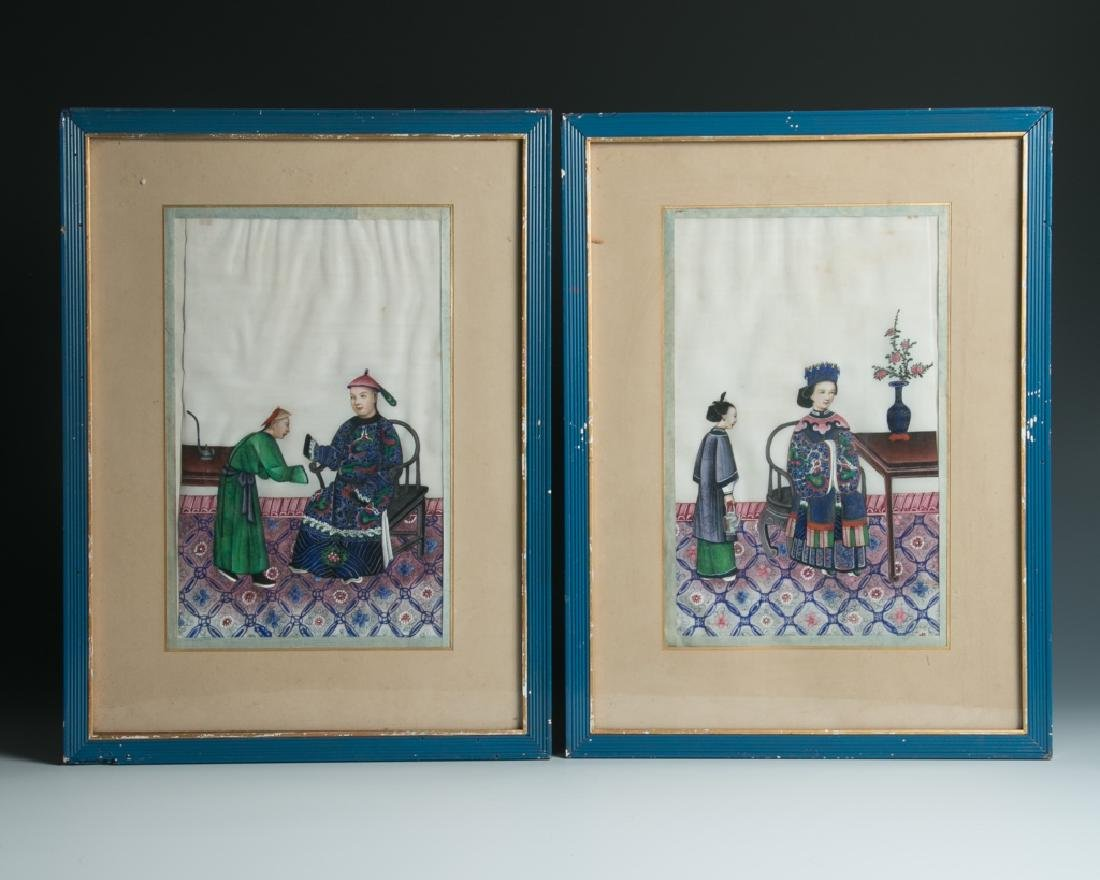 A PAIR OF PITH PAPER PAINTING