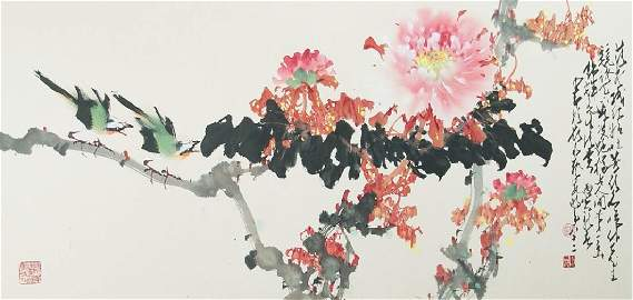 ZHAO SHAOANG, MOUNTED, COLOR AND INK ON PAPER
