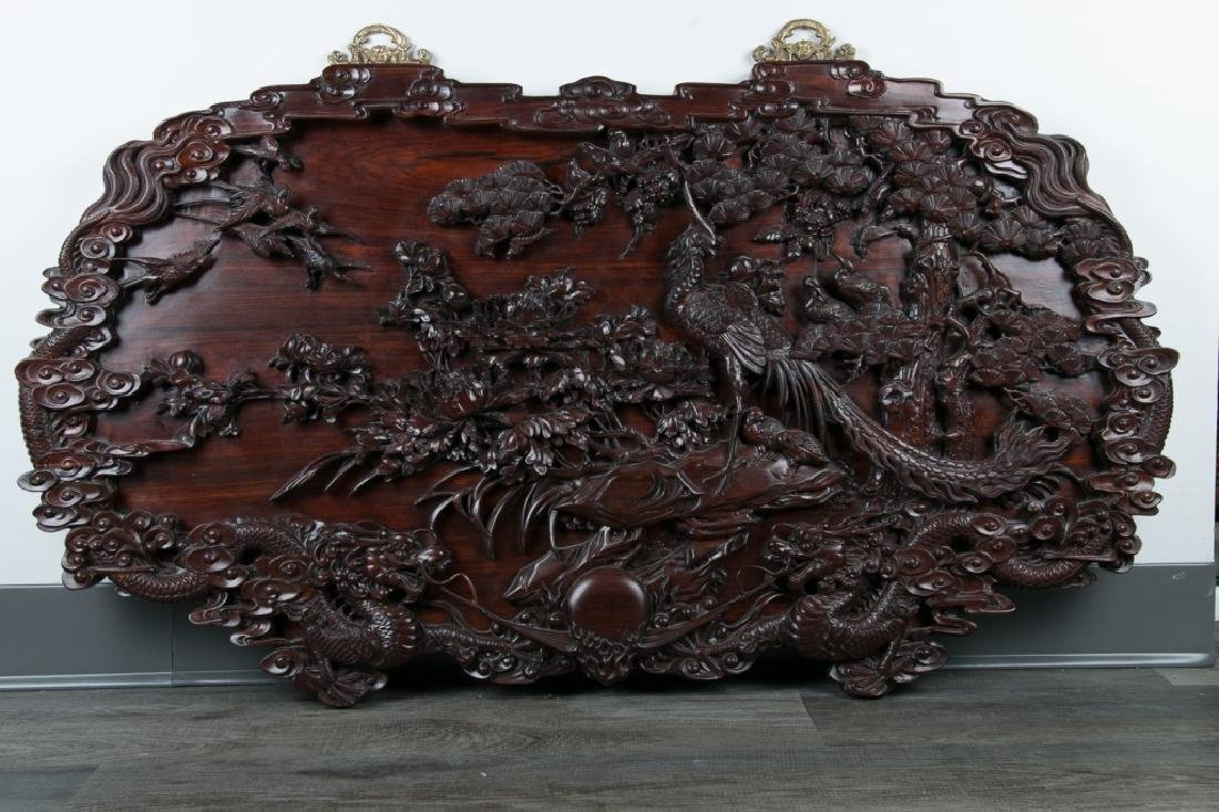 CARVED SUANZHI WOOD 'DRAGON' PANEL