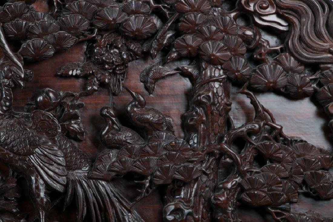 CARVED SUANZHI WOOD 'DRAGON' PANEL - 4