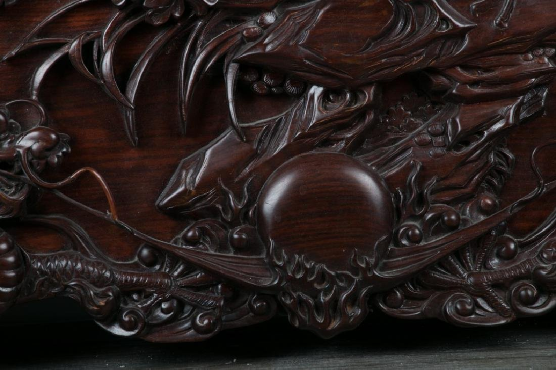 CARVED SUANZHI WOOD 'DRAGON' PANEL - 5