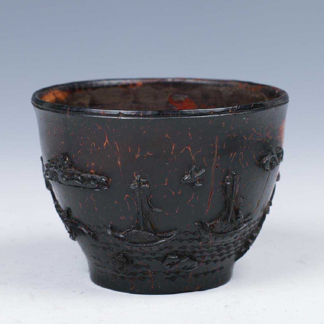 CARVED COCONUT WINE CUP, LATE MING