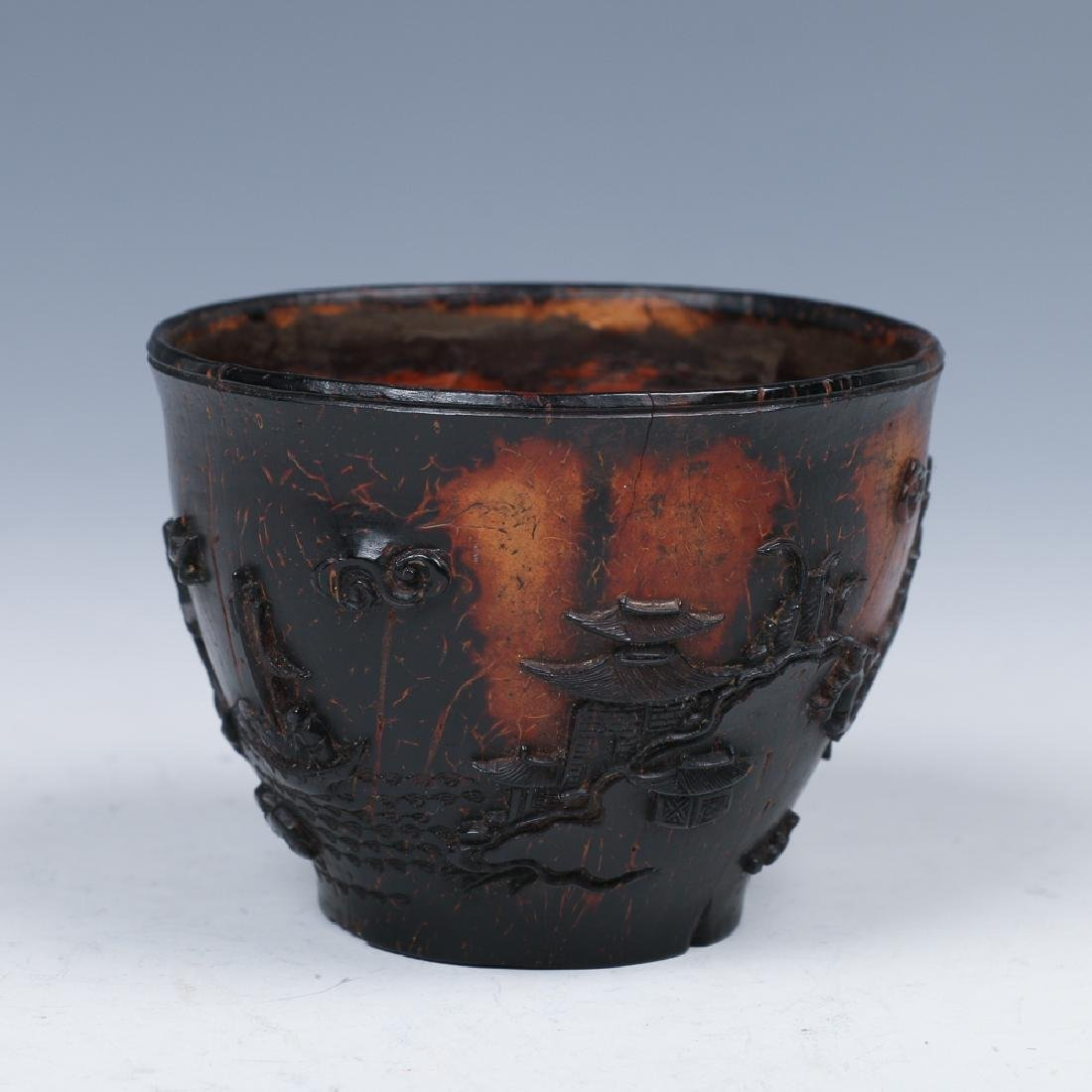 CARVED COCONUT WINE CUP, LATE MING - 2