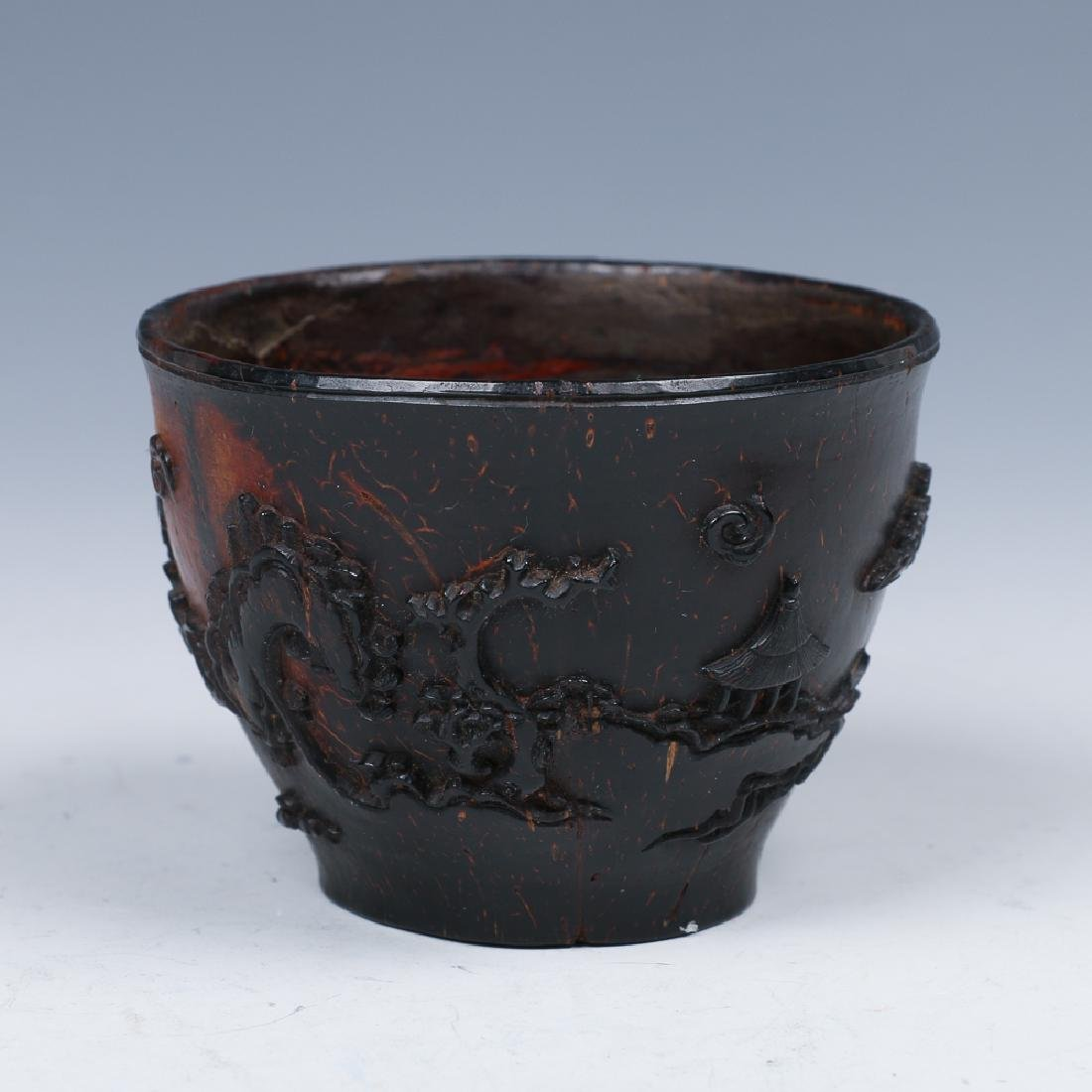 CARVED COCONUT WINE CUP, LATE MING - 3
