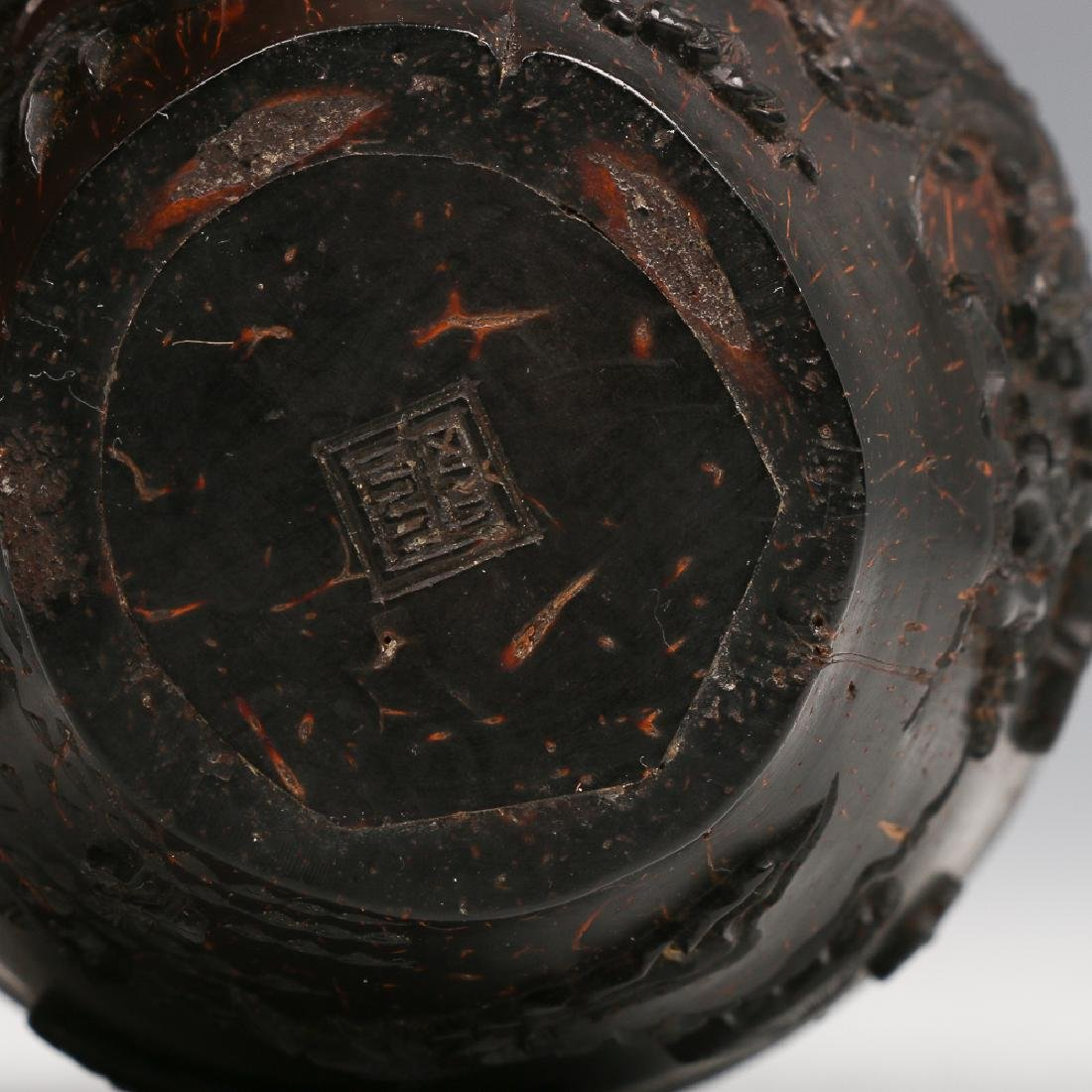CARVED COCONUT WINE CUP, LATE MING - 5
