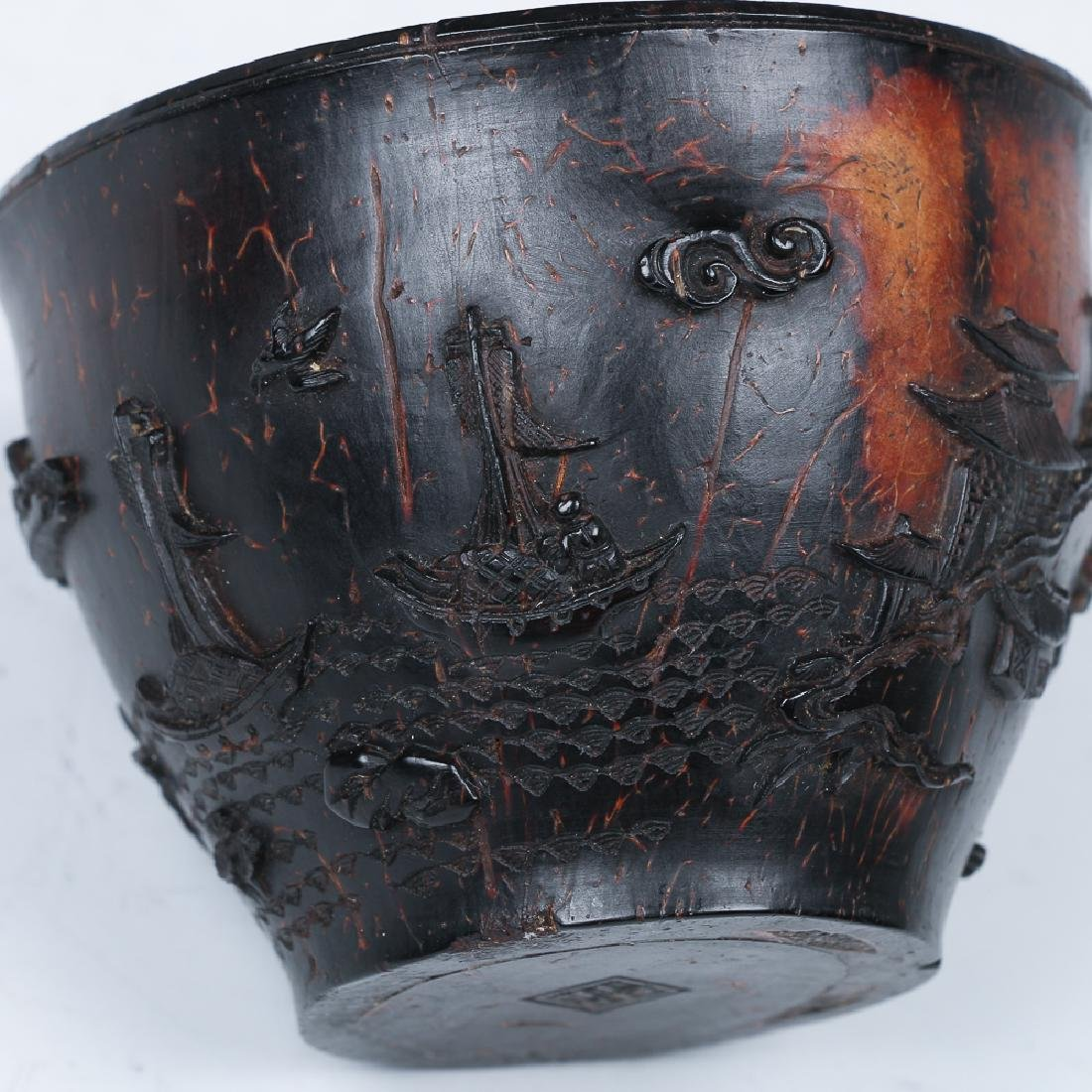 CARVED COCONUT WINE CUP, LATE MING - 6