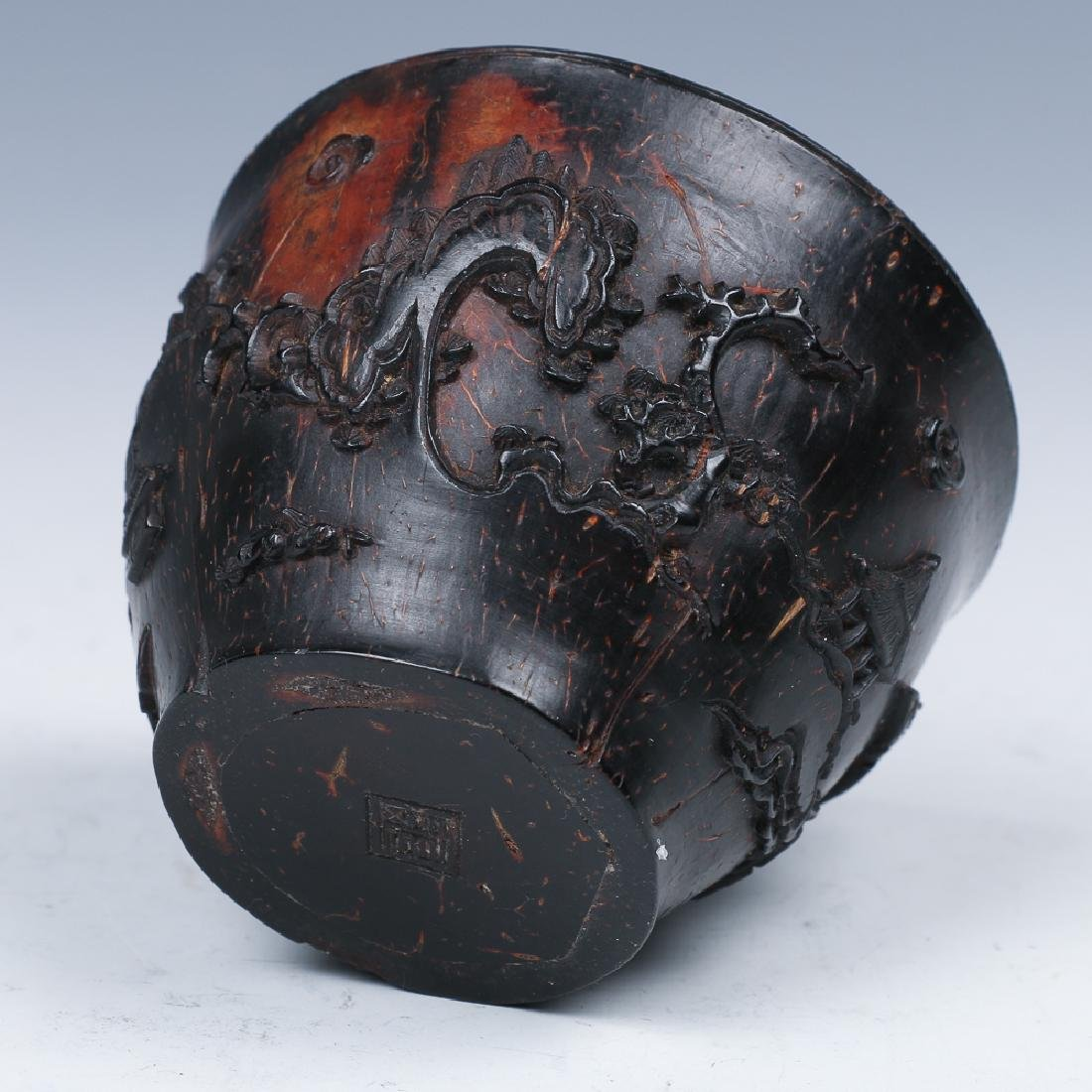 CARVED COCONUT WINE CUP, LATE MING - 7