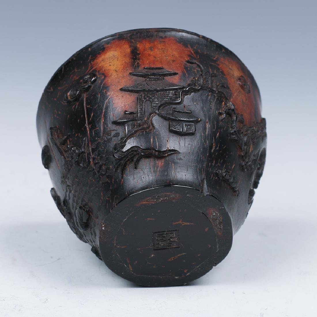 CARVED COCONUT WINE CUP, LATE MING - 8