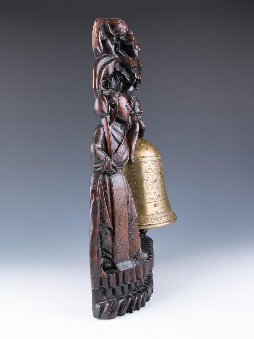 CHINESE BRONZE BELL WITH WOOD CARVED STAND, 19TH C. - 2