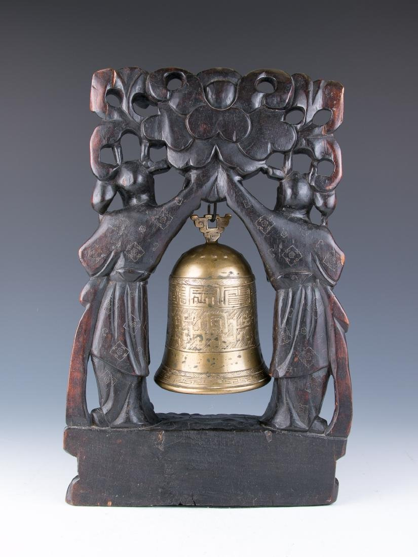 CHINESE BRONZE BELL WITH WOOD CARVED STAND, 19TH C. - 4